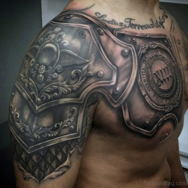Awesome Armor Tattoo On Chest