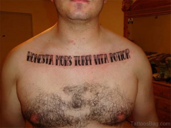 Army Wording Tattoo On Chest