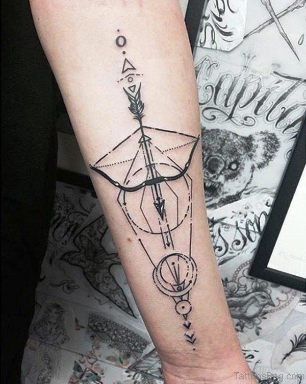 Arrow And Bow Tattoo On Arm