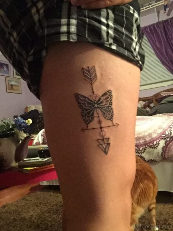 Arrow And Butterfly Tattoo