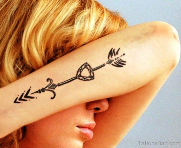 Arrow Diamond Tattoo On Arm