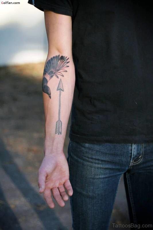 Arrow With Flying Bird Tattoo