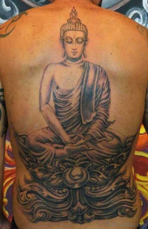 Asian Buddha Tattoo On Full Back