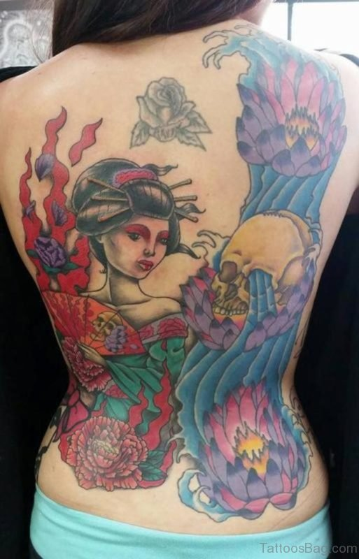 Asian Geisha Tattoo For Back