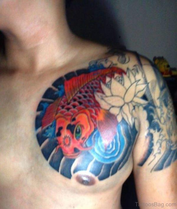 Asian Koi Fish Tattoo On Chest For Men