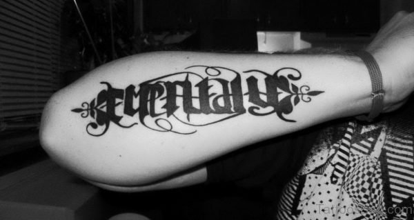 Attarctive Ambigram Tattoo On Arm