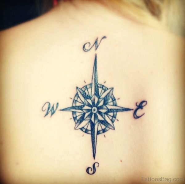 Attarctive Compass Tattoo On Back