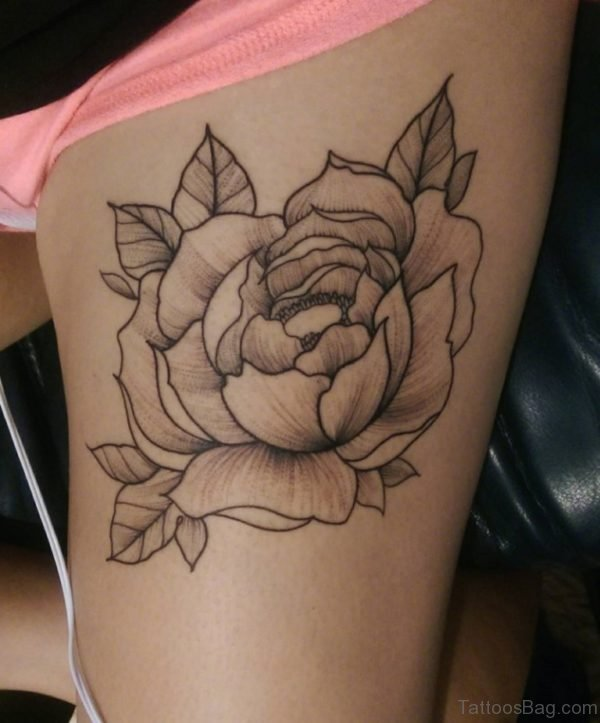 Attractive Flower Tattoo On Thigh
