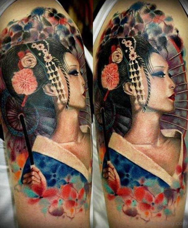 Attarctive Geisha Tattoo Design