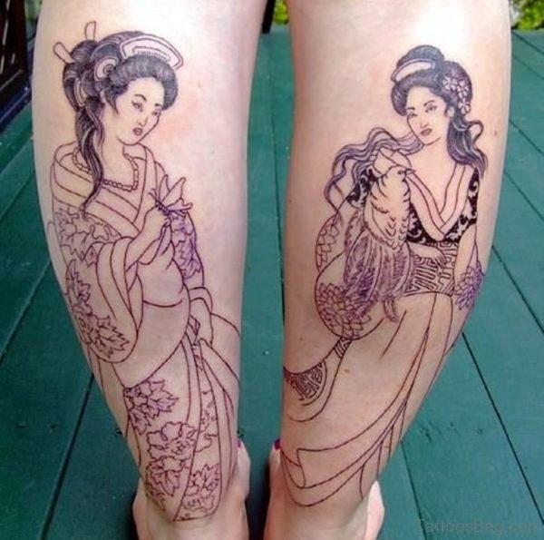 Attractive Geisha Tattoo on Leg