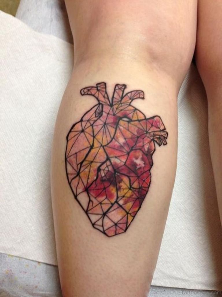 71 mind blowing heart tattoos on leg. Black Bedroom Furniture Sets. Home Design Ideas