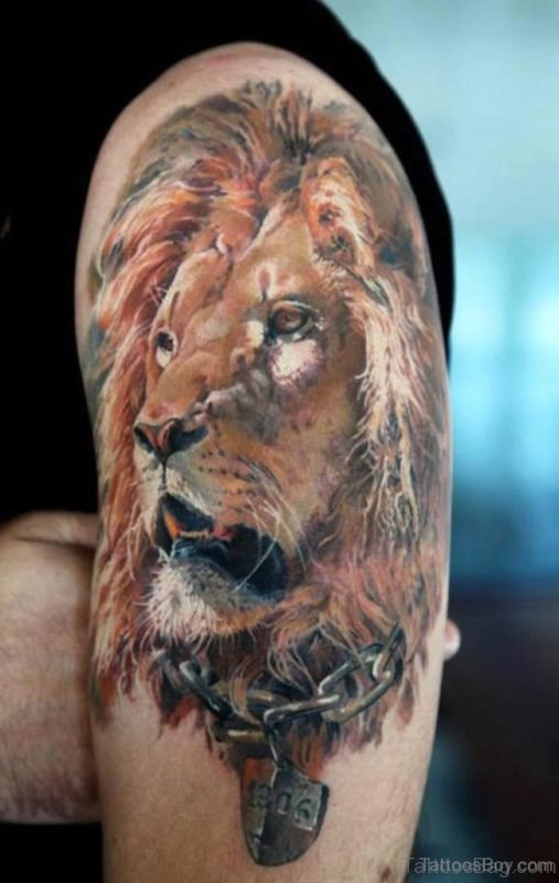 Attractive Lion Tattoo On Thigh