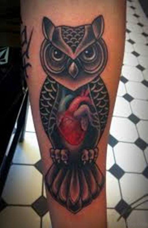 Attractive Owl Tattoo On Leg