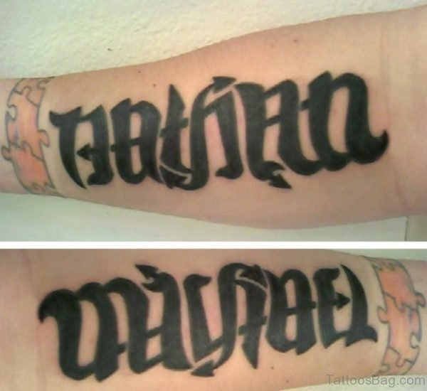 Attractive Ambigram Tattoo On Leg