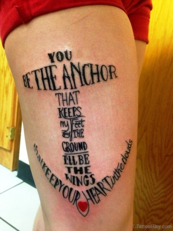 Attractive Anchor Tattoo Design On Thigh