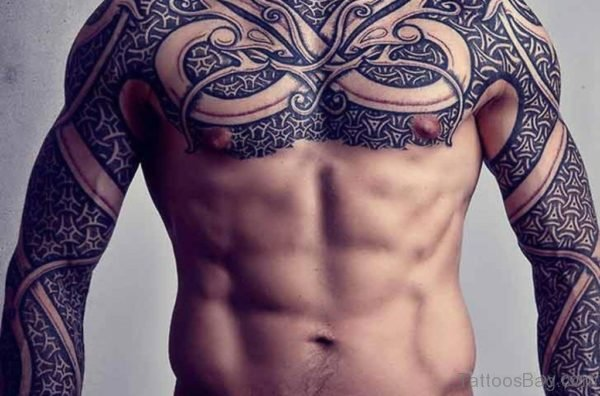 Attractive Armor Tattoo On Chest