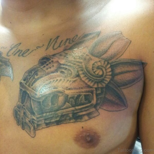 Attractive Aztec Serpent Head Tattoo On Chest