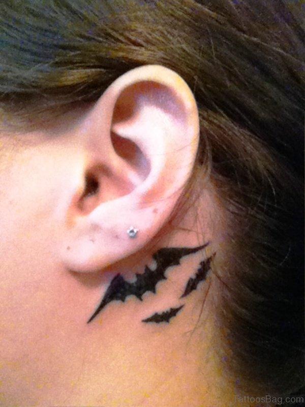 Attractive Bats Tattoo Behind Ears