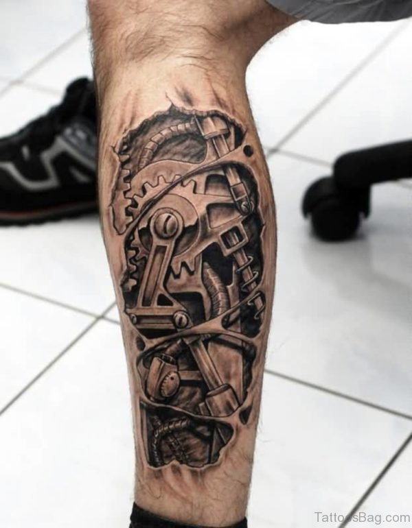 Attractive Biomechanical Leg Tattoo Design