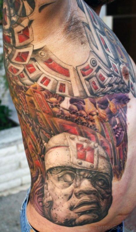 Attractive Biomechanical Tattoo On Rib