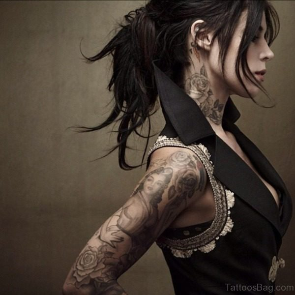 Attractive Black And Grey Tattoo On Neck