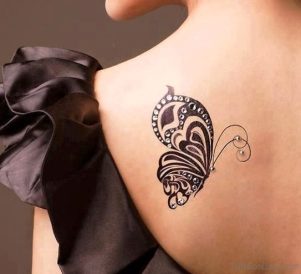 Attractive Black Butterfly Tattoo