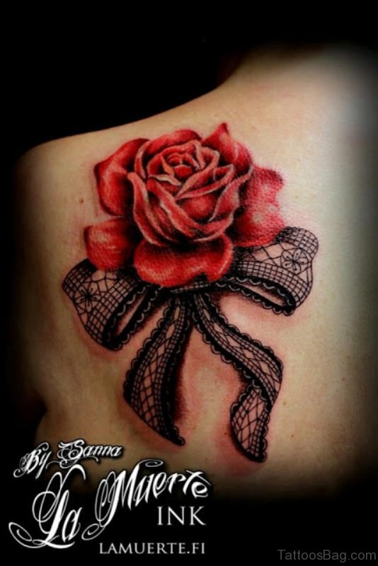 Attractive Bow Lace Tattoo Design