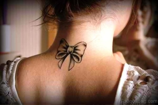 Attractive Bow Tattoo On Neck