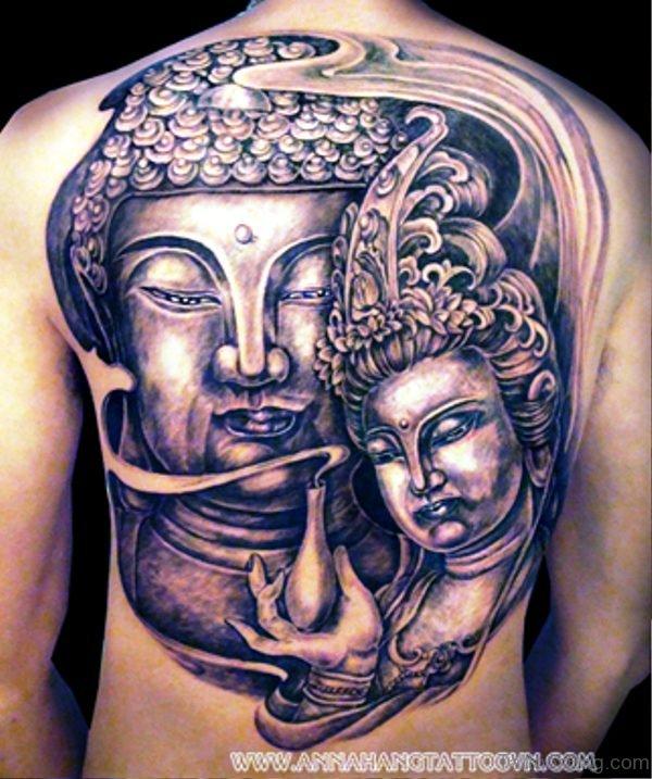 Attractive Buddha Tattoo On Back