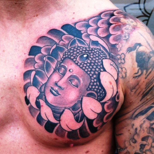 Attractive Buddha Tattoo On Chest