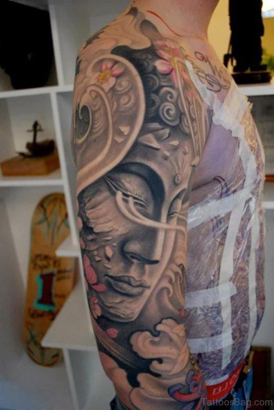 Attractive Buddha Tattoo On Full Sleeve