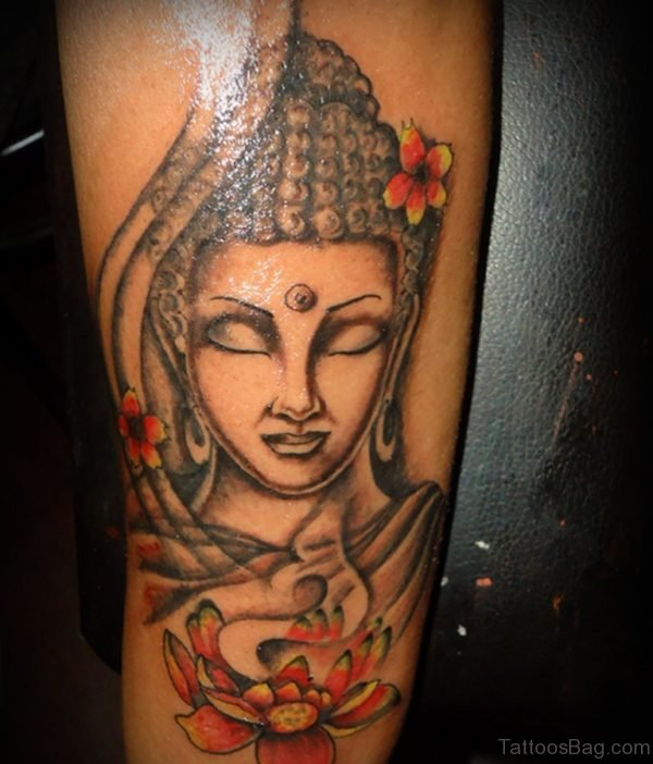 Attractive Buddha Tattoo On Leg