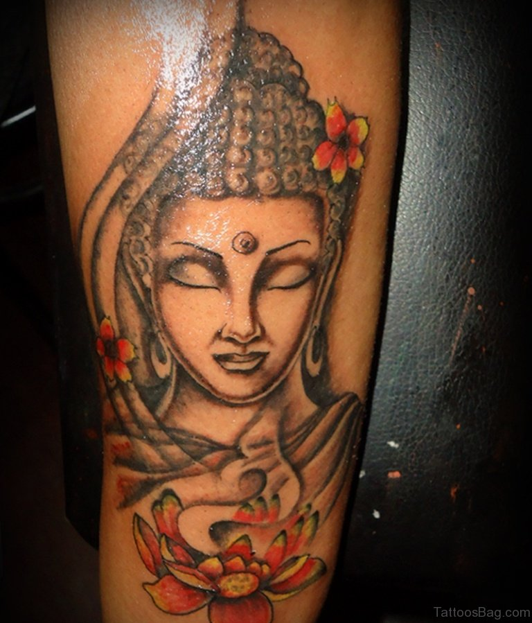 40 nice buddha tattoos on leg for Happy buddha tattoo