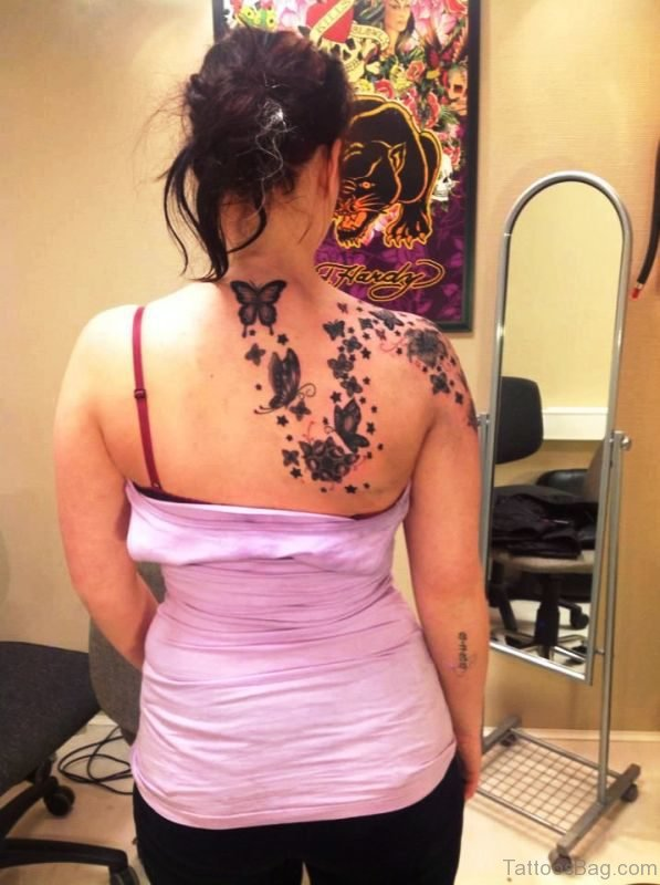 Attractive Butterflies On Shoulder Back
