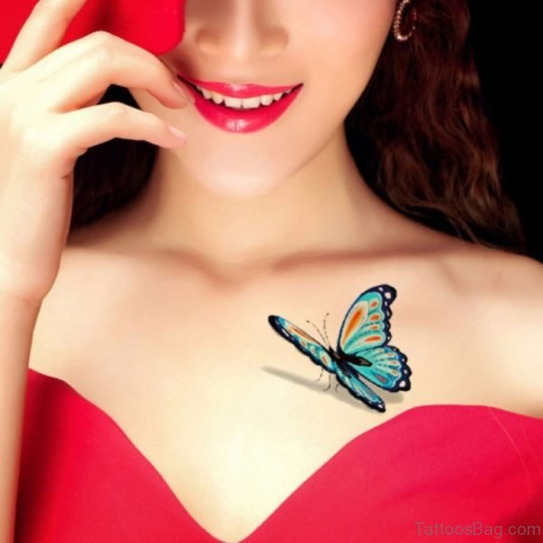 Attractive Butterfly Tattoo On Chest