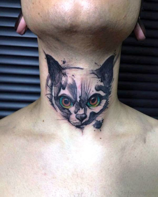 Attractive Cat Tattoo On Neck