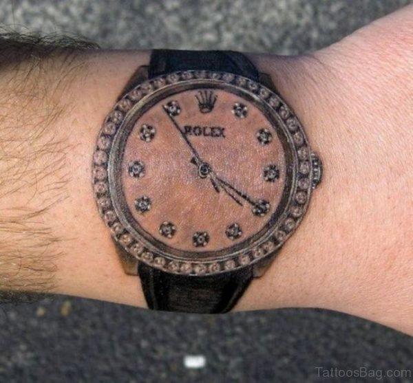 Attractive Clock Tattoo On Wrist