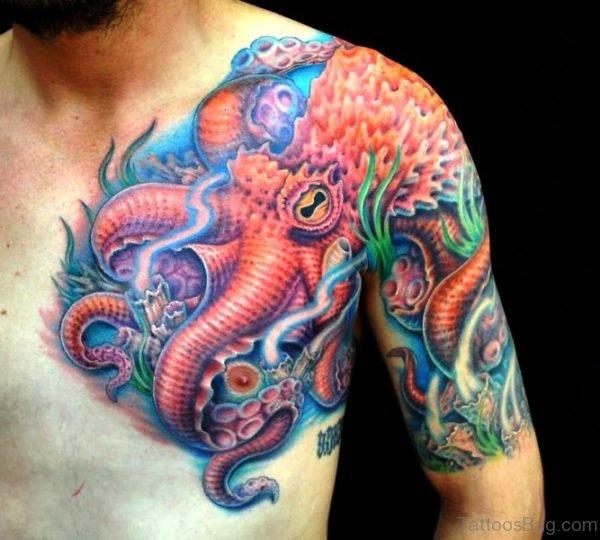 Attractive Colored Kraken Tattoo