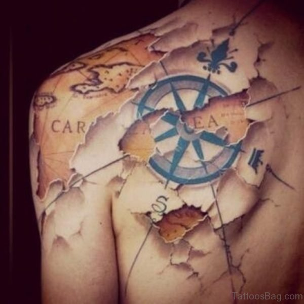 Attractive Compass Tattoo Design