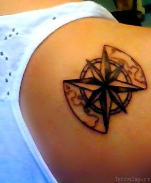 Attractive Compass Tattoo On Back Shoulder