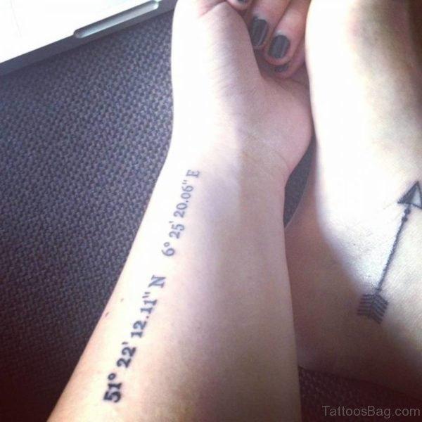 Attractive Coordinates Wrist Tattoo