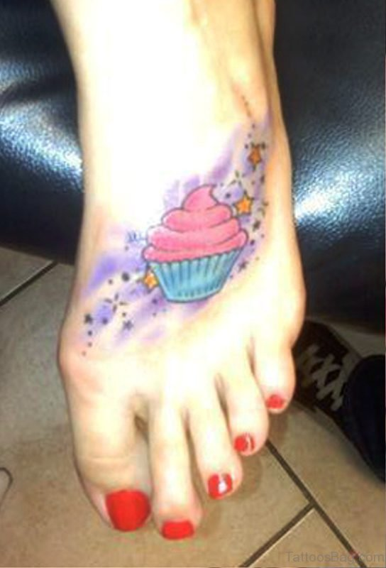 Attractive Cupcake Tattoo On Foot