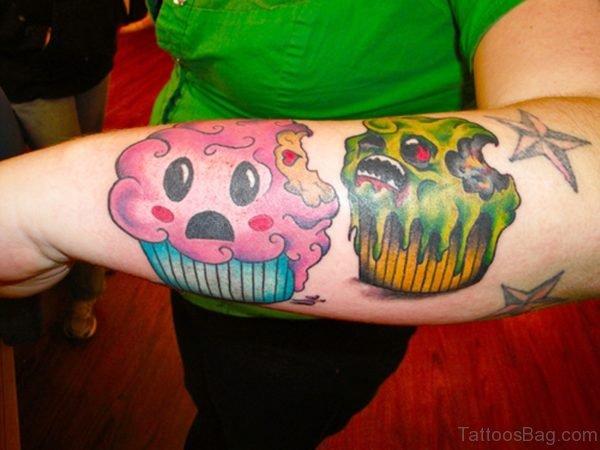Attractive Cupcake Tattoo