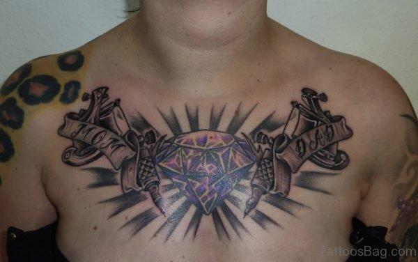 Attractive Diamond Tattoo On Chest