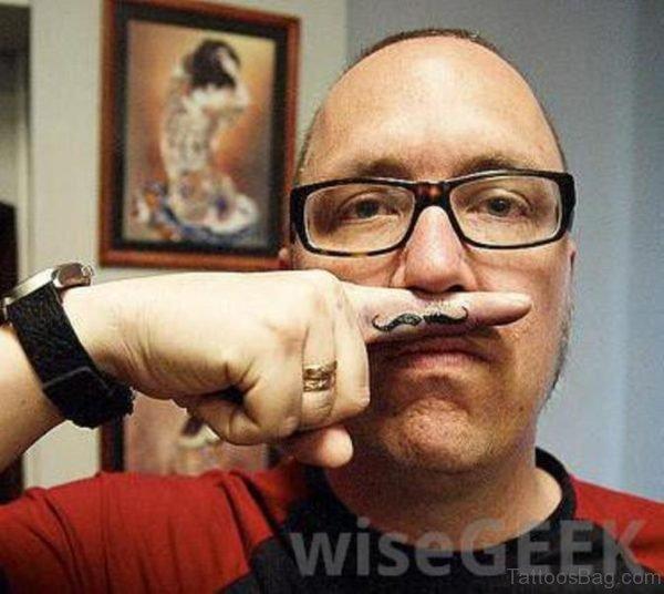 Attractive Fingerstache Tattoo