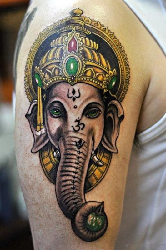 Attractive Ganesha Tattoo On Shoulder