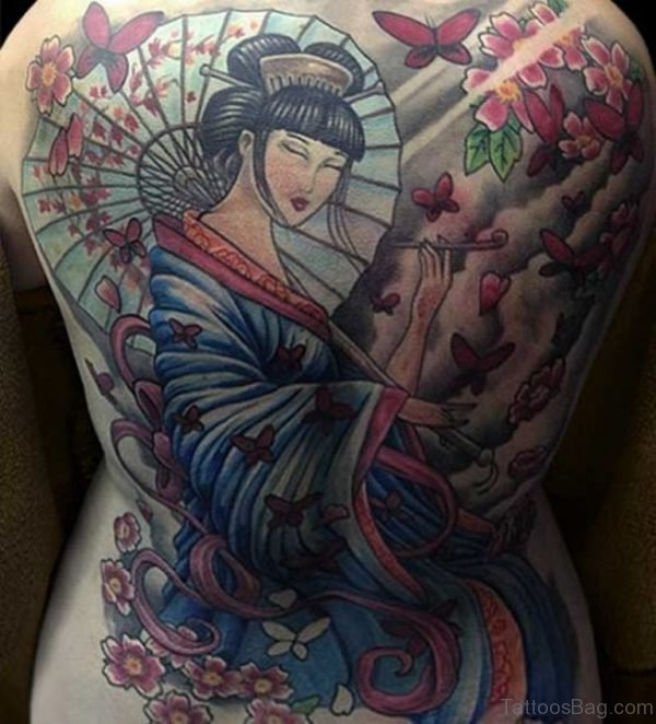 Attractive Geisha Tattoo On Back
