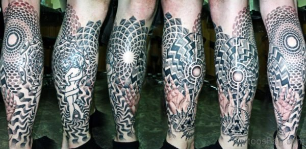 Attractive Geometric Tattoo On Leg
