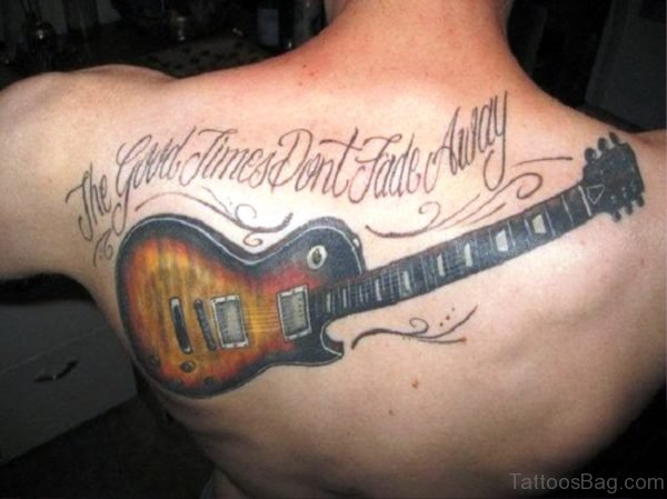 Attractive Guitar Tattoo On Back