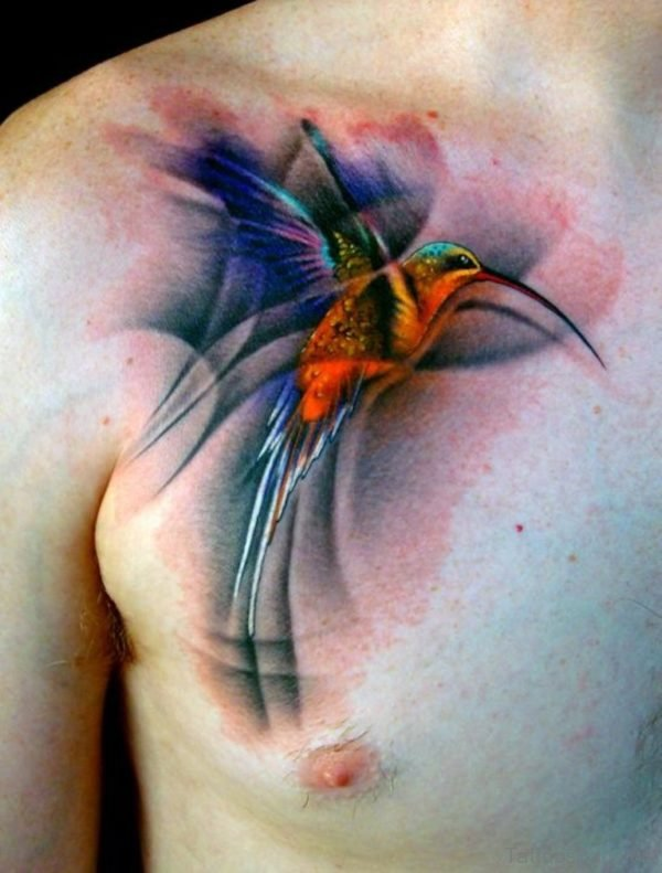 Attractive Hummingbird Tattoo On Chest